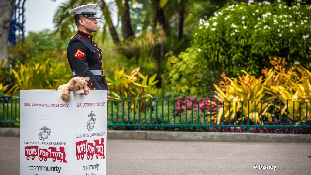 marines collecting for toys for tots at downtown disney district on