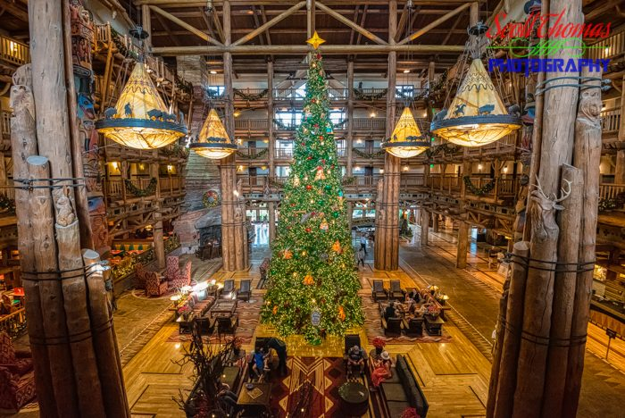 Wilderness Lodge Christmas Tree in HDR