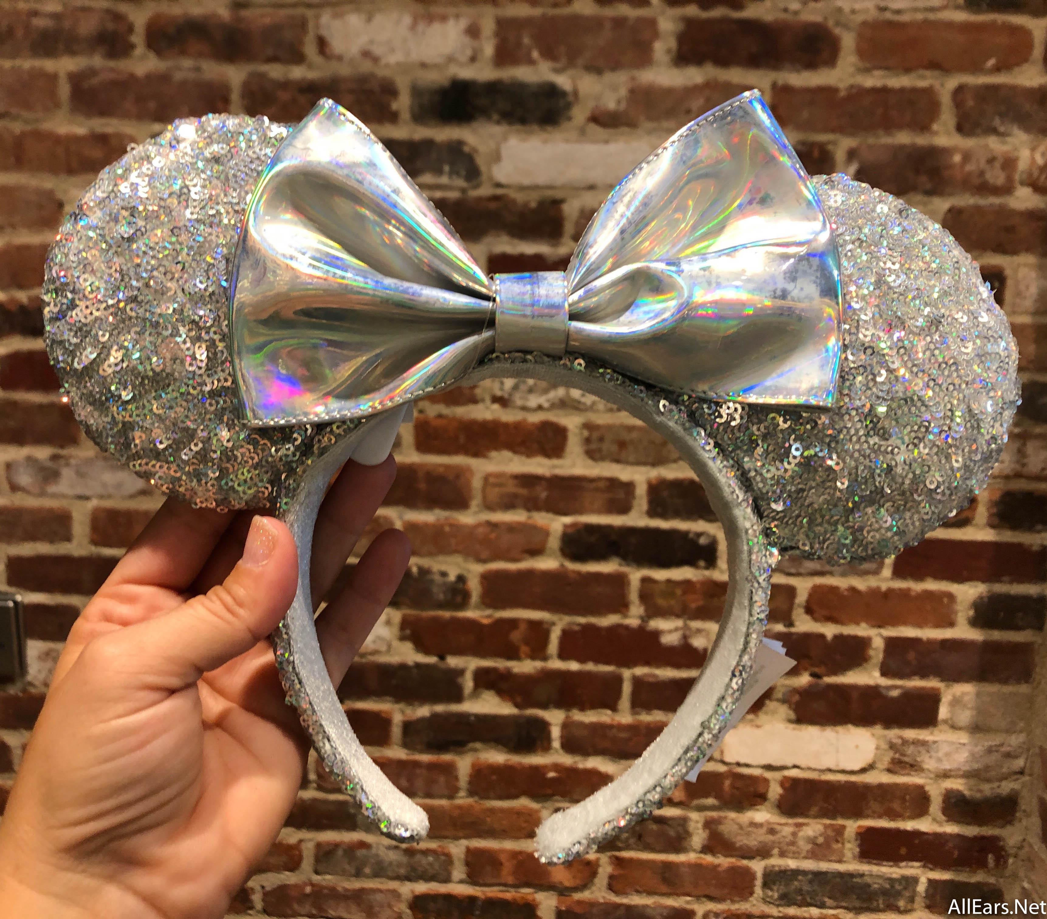Disney Parks Minnie Mouse Sequin Bow Ears Magic Mirror Metallic Headband NEW