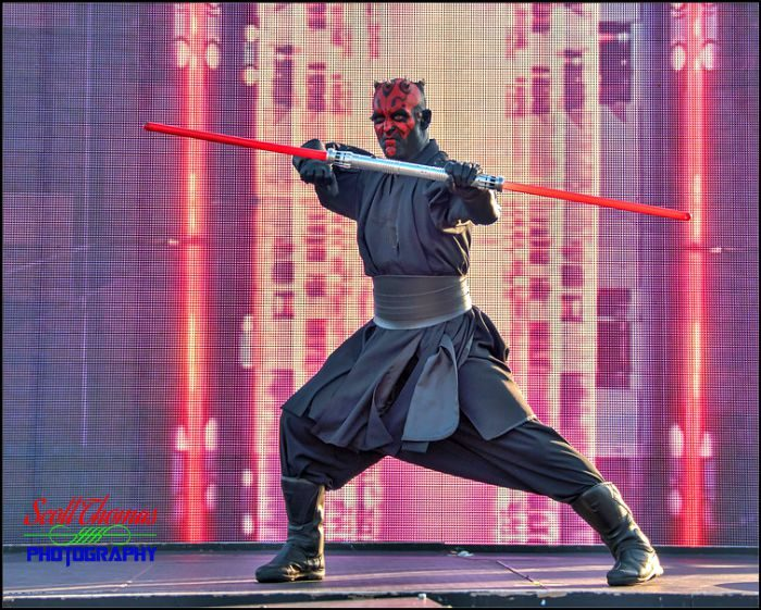 Darth Maul performing in the Star Wars: A Galaxy Far, Far Away