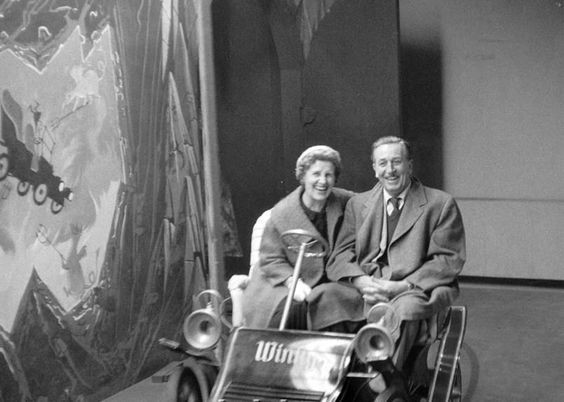 Walt and Lillian at Mr. Toad in Disneyland