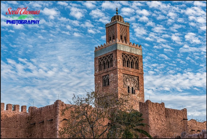 Morocco Koutoubia Minaret with Clouds