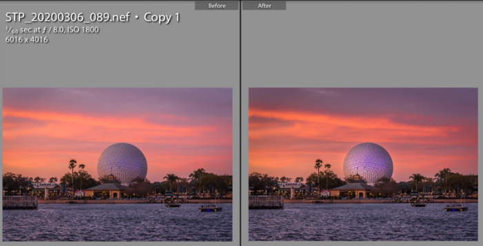 Spaceship Earth Before and After Processing