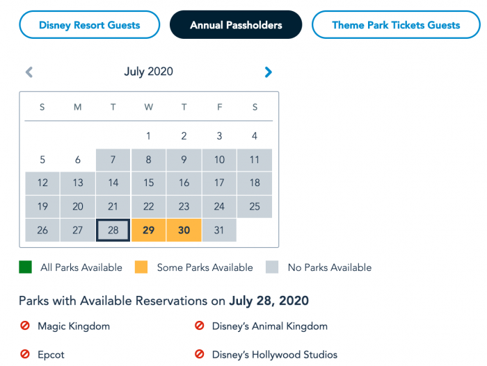 Disney World Park Pass System Availability Annual Passholders July 7