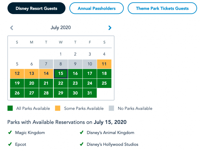 Disney World Park Pass System Availability Resort Guests July 7