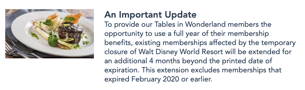 News Tables In Wonderland Is Extending Existing Memberships For Time Of Disney World Closure Allears Net