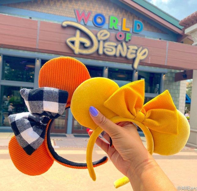 Disney Parks 2020 Fall Autumn Orange Flannel Bow Minnie Mickey Ear Headband New