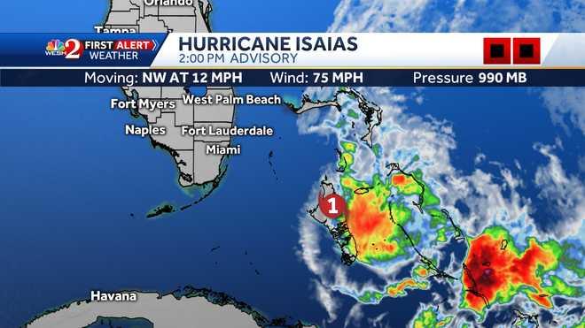 Hurricane path satellite WESH 2 Hurricane Isaias
