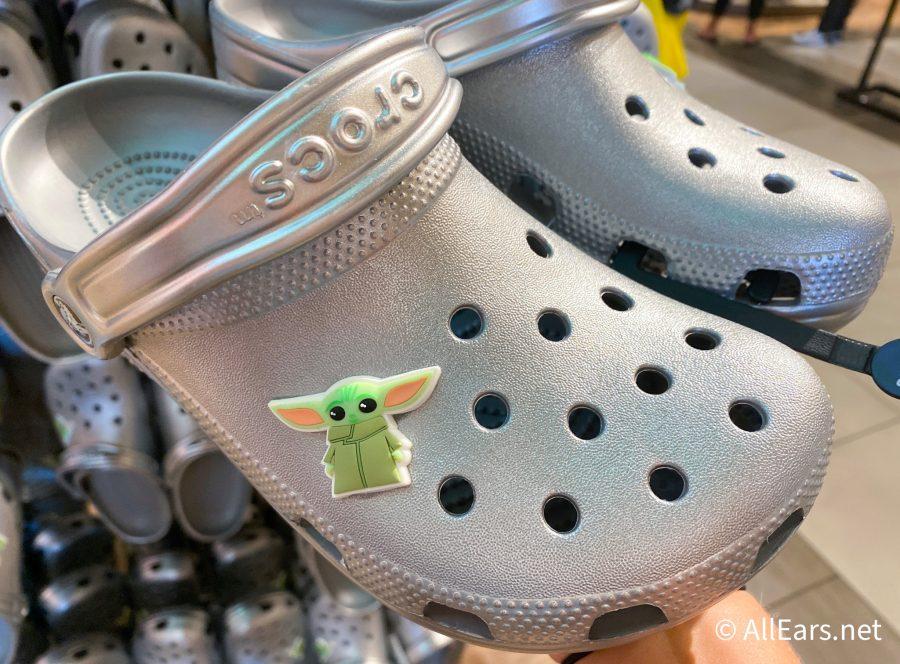 Baby Yoda Crocs in Disney World