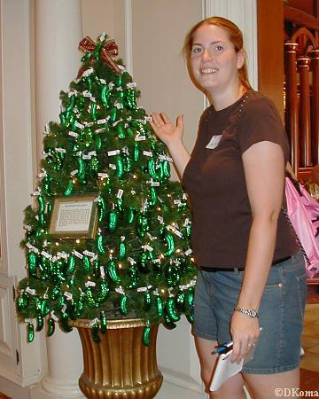 Michele and the German pickle ornament tree.