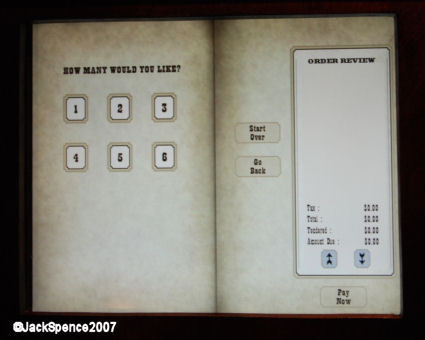 Pecos Bill's Ordering Screens