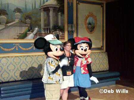 Farewell dinner with Mickey and Minnie