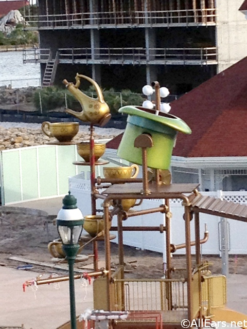 Alice in Wonderland Splash Area Construction at Grand Floridian