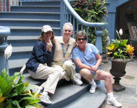 Laura, LindaMac and Deb in New Orleans Square at Disneyland