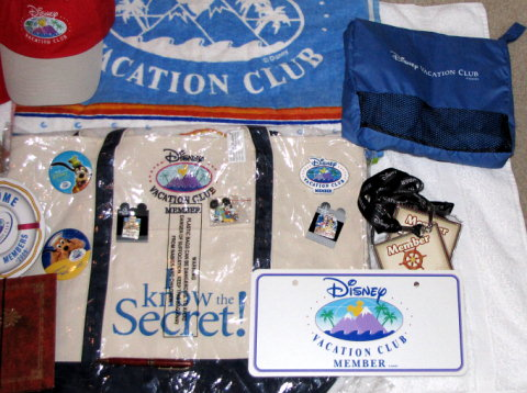 Disney Vacation Club License plate, travel pillow, lanyards, pins -