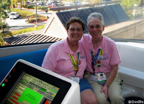 Linda and Deb riding up front in the monorail.