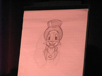 Ducky Williams drawing Jiminy Cricket