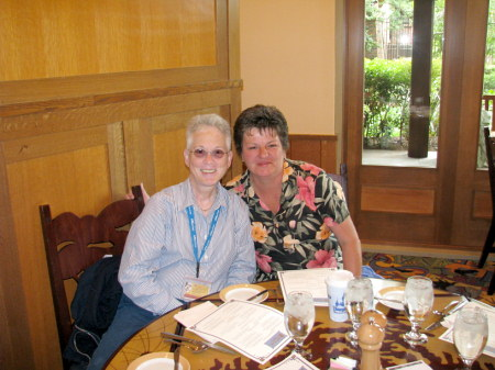 LindaMac and Deb at Storyteller's Cafe in Disneyland's Grand Californian