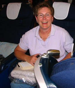 Linda in Business Class
