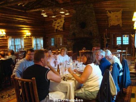 Dinner at the Brooks Lake Lodge dining room