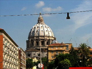 Our first view of the Vatican, as we stepped off the bus.