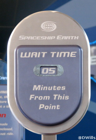 Spaceship Earth Wait Time Sign