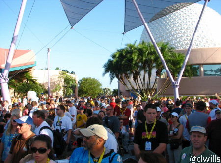 Rope drop in Epcot on October 1, 2007
