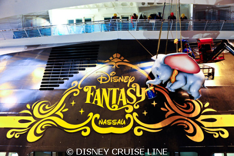 Dumbo Adorns the Disney Fantasy Stern
