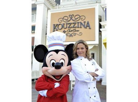 Mickey and Cat Cora outside Kouzzina