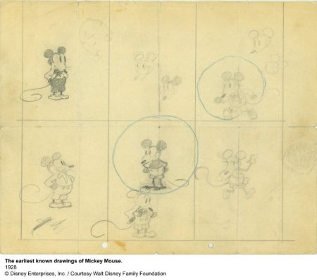 Early drawings of Mickey Mouse