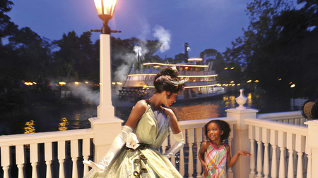 Princess Tiana's Riverboat Party and Parade Viewing