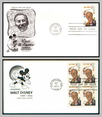 1968 Walt Disney Commemorative Stamp Covers