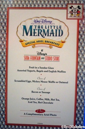 Breakfast Menu for Disney's Soda Fountain and Studio Store