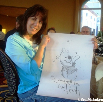 Disney Historian, Stacia Martin Draws Pooh for Laura