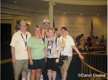 Gabe, Carol, Mike, Ann and Susan at the Hall of Presidents Passholder Preview
