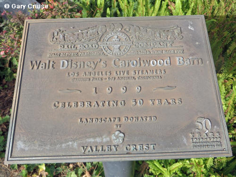 Plaque at Walt's barn