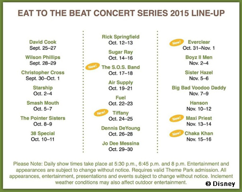 Eat to the Beat schedule