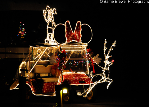 minnie mouse golf cart with reindeer - Golf Cart Christmas Decorations