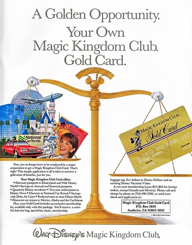 Magic Kingdom Club Ad Fall 1989