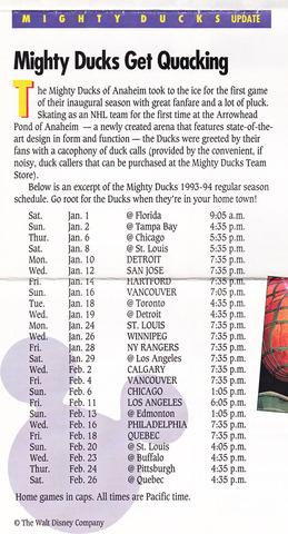 1993 Game Schedule