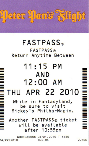 Peter Pans Flight FastPass
