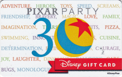 Pixar Party Gift Card