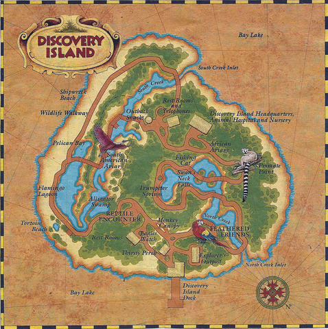 1990s Discovery Island Map