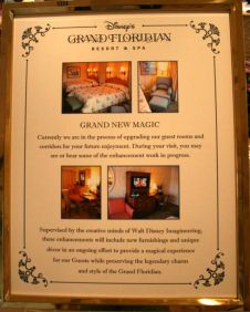 Signage at Grand Floridian regarding Room Renovation