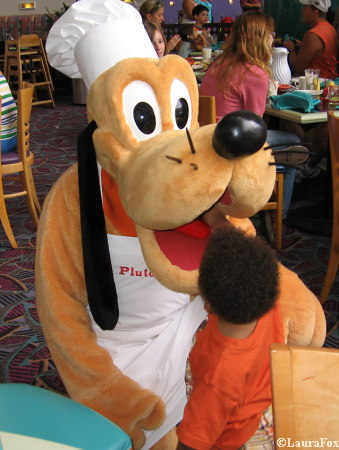 Pluto at Chef Mickey's Character Breakfast