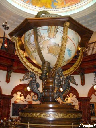 Part of the amazing decor inside Magellan's at Tokyo Disney Sea