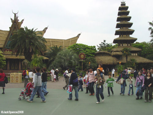 Adventureland with Tiki Birds building in background