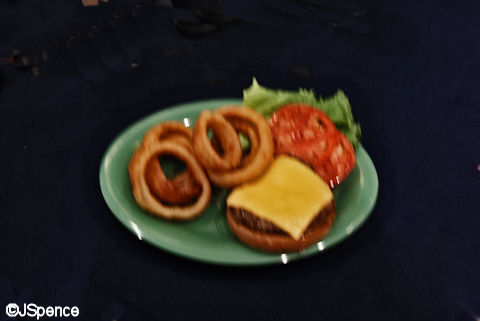 Hamburger and Onion Rings
