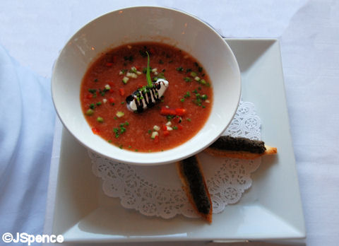 Chilled Tomato Soup with Cilantro and Tapenade Toast