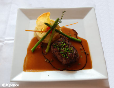 Grill Beef Tenderloin, Beef Parmentier with Peppercorn Sauce and Asparagus